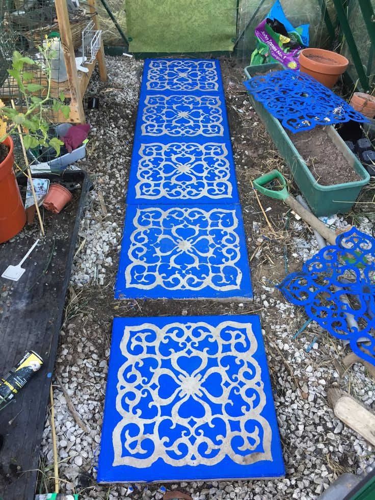 Greenhouse Paving Slabs Stencilled With Bright Masonry