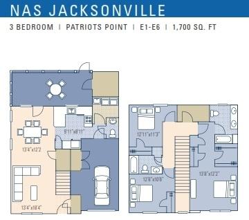 Nas Jacksonville Patriot Point Neighborhood 3 Bedroom Floor Plan For E1 E6 Service