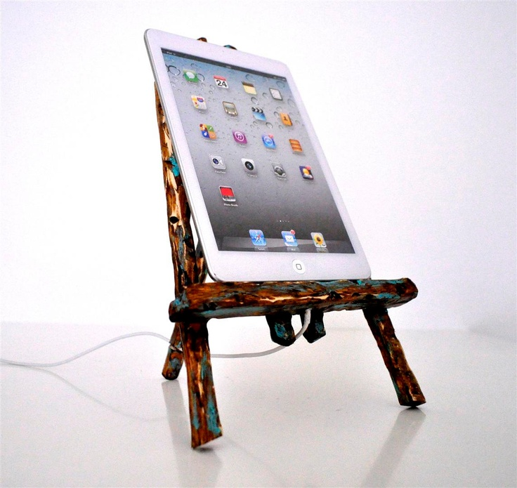 iPhone 5 dock / iPad Mini dock - rustic turquoise distressed wooden easel. €38.00, via Etsy.