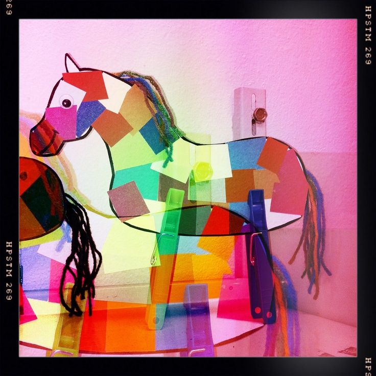 Stain glass horse window ordament using tissue paper for Stained glass window craft with tissue paper