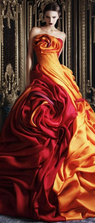 Rami Kadi Couture Fabric manipulation can create anything from tiny pleats to exuberant flowers.