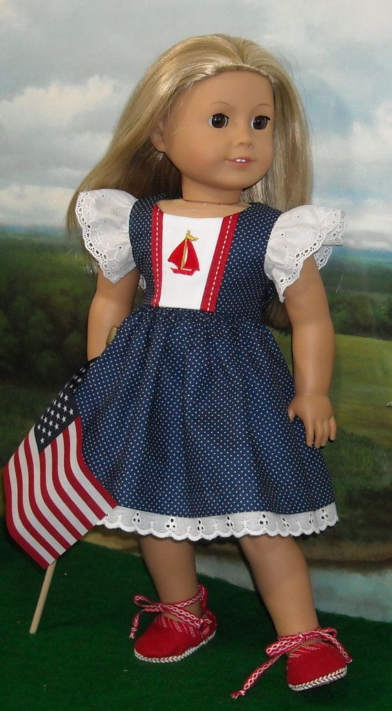Nautical Juliette Dress and Shoes for 18 inch dolls. Dress, underpants, shoes and flag. $56.00