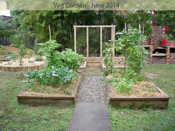 June 2014 - stage 2 of garden bed construction includes a u-shaped bed at the back and a food forest area to the back left. The trellis is made from recycled security screens.