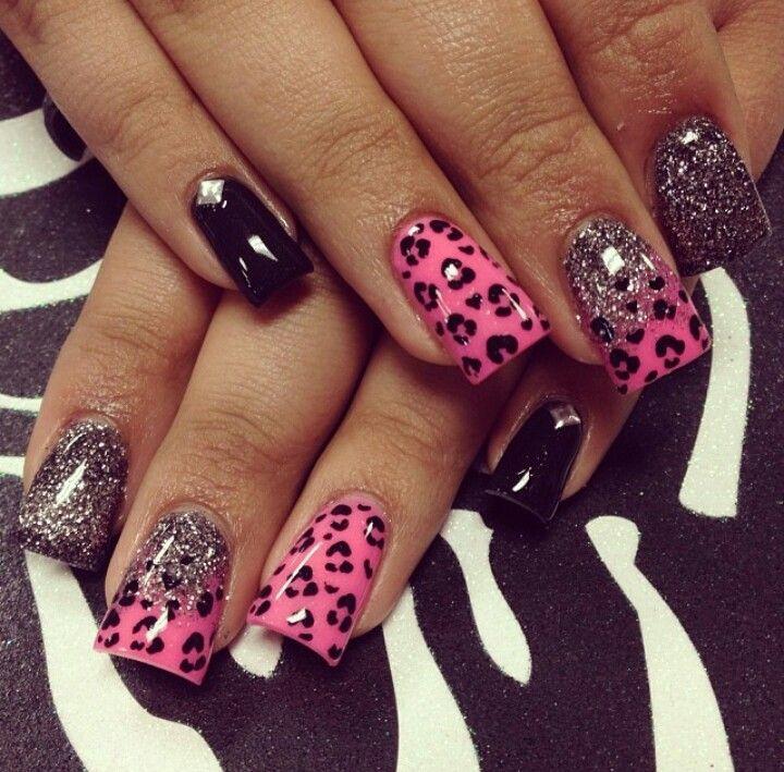 Pink silver cheetah nails. Adorable!