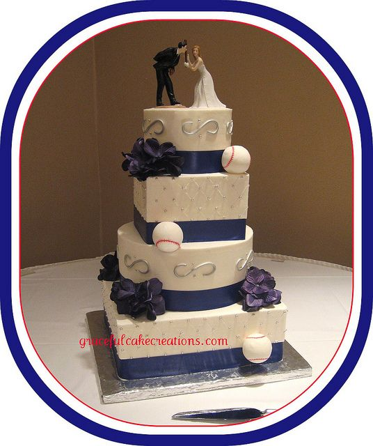 Baseball Themed Wedding Cake by Graceful Cake Creations, love the blue and red this is duable