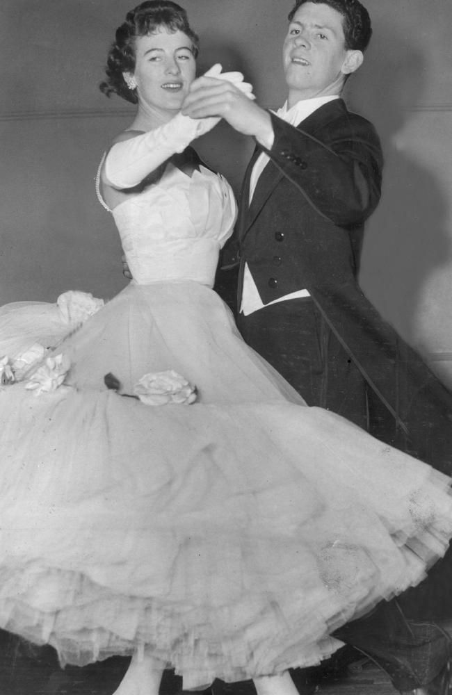 """1958 North Melbourne footballer Laurie """"Twinkle Toes"""" Dwyer was a National ballroom dancing champion. His dance partner in this photo was Veronica Boylan."""