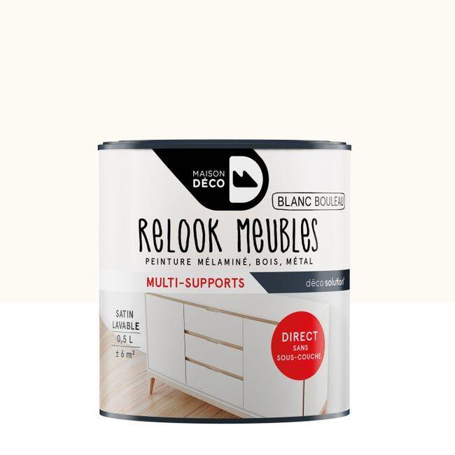 Peinture Meuble Et Boiserie Relook Meubles Maison Deco Blanc Satine Satine 0 5 L Leroy Merlin En 2020 Deco Blanche Mobilier De Salon Peinture Meuble