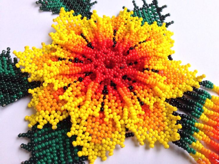 Yellow Huichol Flower Necklace