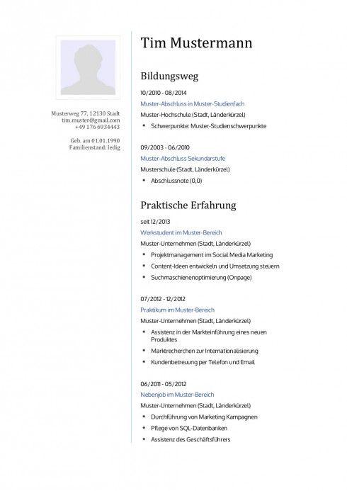 31 best Lebenslauf Vorlagen & Muster images on Pinterest | Cv resume ...