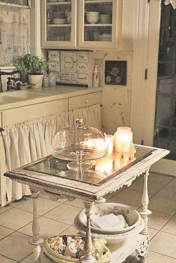 Recycled Vintage Kitchen Island with a Fancy Old Table.