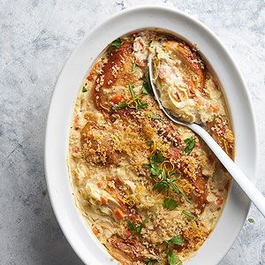 Extra veggies, nutty brown rice, and generous amount of lemon flavor keep this familiar, family-friendly casserole fresh and light.
