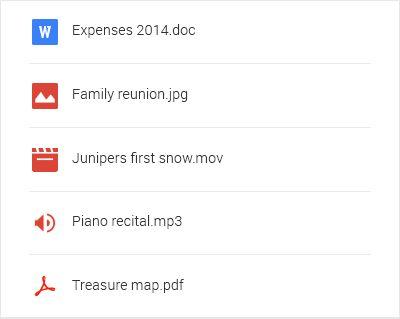 Lista de tipos de archivo de Google Drive, incluidos documentos, imágenes y música