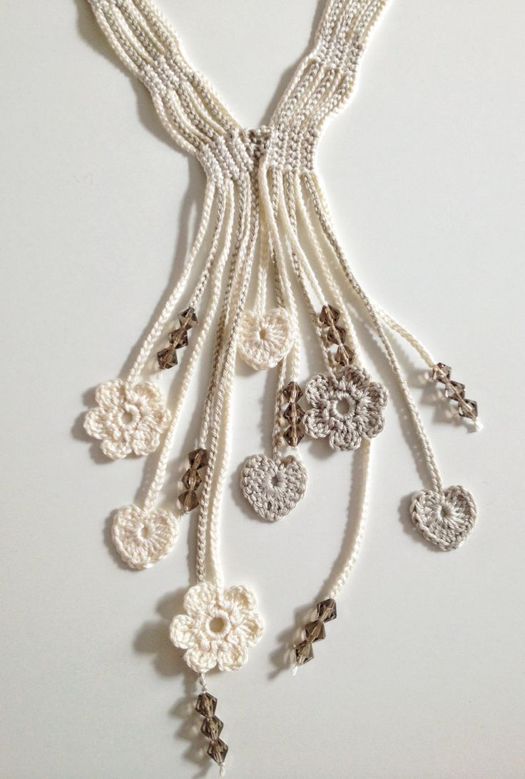 from ETSY: Cream hearts and flowers beaded crochet by GabyCrochetCrafts, £20.00