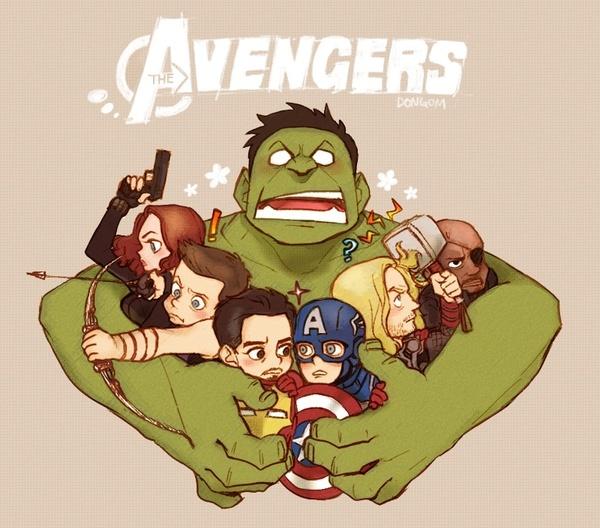 The Avengers! comic-book-art: Baby Avengers, Captain America, Irons Man, Illustration, Avengers Cartoon, Hulk, Super Heroes, The Avengers, Superhero