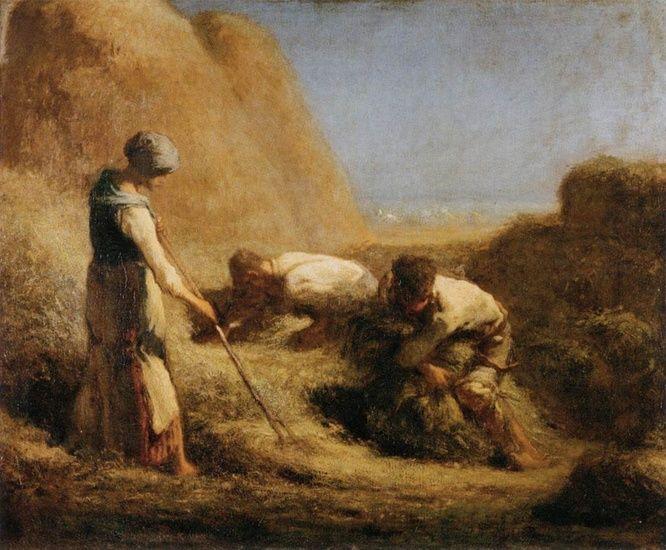 Jean-François Millet >> Trussing Hay     (Oil, artwork, reproduction, copy, painting).