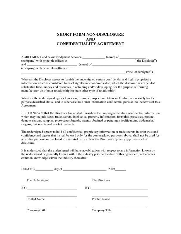 Sample Confidentiality Agreement Non Disclosure Agreement Contract Template Disclosure