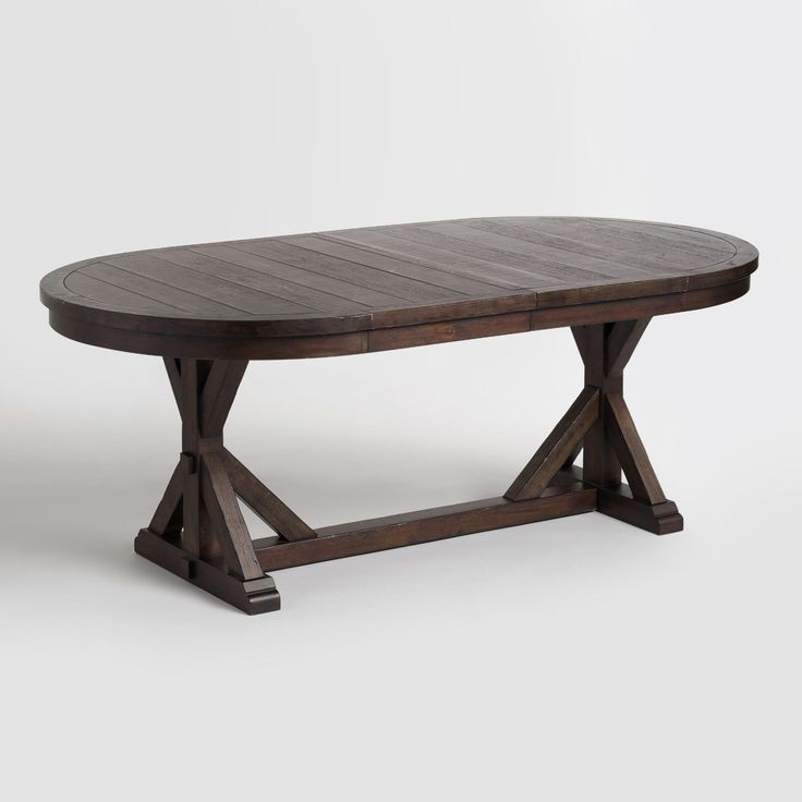 This is a really interesting shape too...Rustic Brown Oval Wood table from World Market