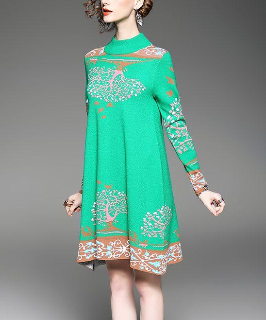 Green & Brown Tree Mock Neck Dress