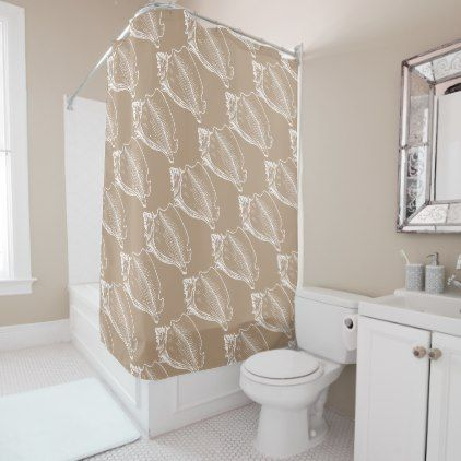 Stylish Nautical Seashells Pattern Tan Taupe Brown Shower Curtain - fun gifts funny diy customize personal