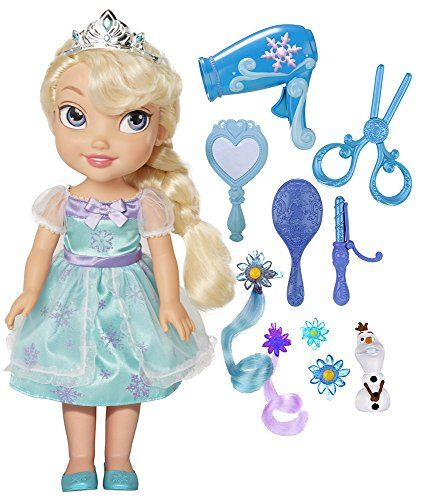 This is a lovely doll for a toddler, and older children might enjoy it too! Princess Elsa, from Disney's Frozen movie, is ready to have her hair styles - and this set has everything that's required...
