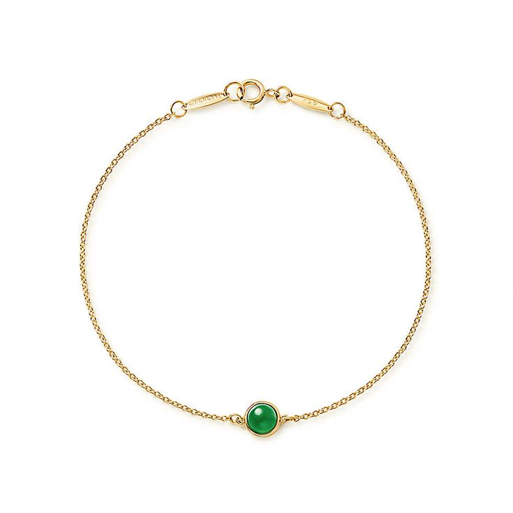 Elsa Peretti® Cabochon bracelet in 18k gold with green jade.