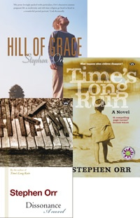 Stephen Orr Package       To celebrate the National Year of Reading, pick up three novels by award-winning author Stephen Orr at this very special price. This offer includes his eagerly-awaited new release Dissonance, as well as the National Year of Reading Award winner Time's Long Ruin, and Hill of Grace.  Regular Price: AU$67.85  Discounted Price: AU$39.95    http://www.wakefieldpress.com.au/product.php?productid=965=0==Y