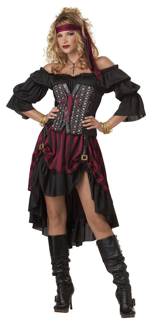 Adultos traje de la moza del pirata - Disfraces de pirata