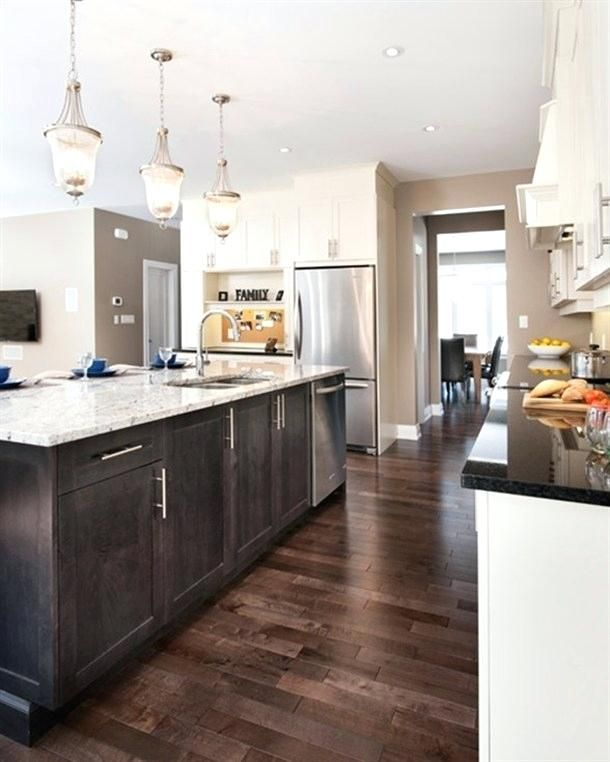 Kitchen With Grey Wood Floors And Brown Wood Floors Dark Kitchen Floors Kitchen Flooring Dark Cabinets And Dark Floors