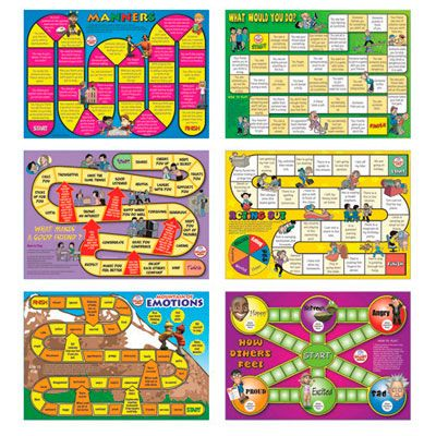 Social Skills Board Games [PR3060] - Six board games encourage students to work together to improve their social skills. Players discuss solutions to socially challenging situations, encouraging group communication and participation. Each game targets a different issue, such as morals, manners, empathy, friendship, showing emotions, and managing emotions. Features 6 boards, 24 counters, 1 die, 1 spinner. Most appropriate for grades