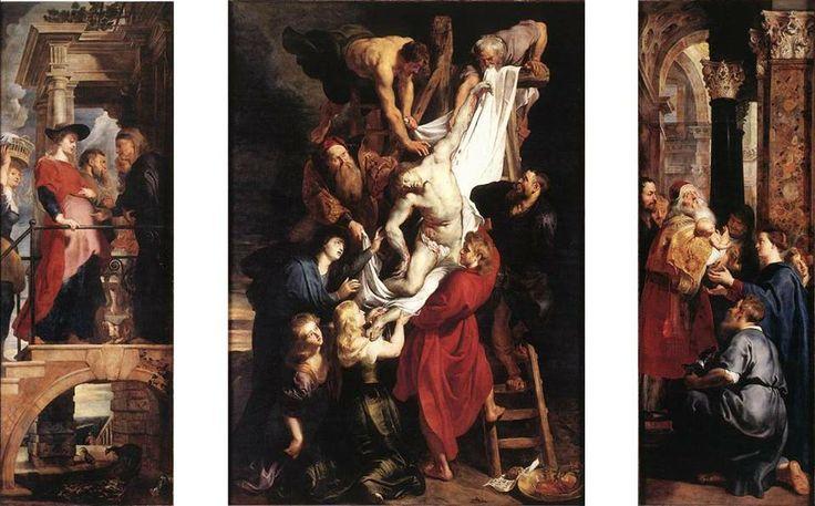 """Antwerpen, België: In de Onze-Lieve-Vrouwen-Kathedraal in Antwerpen is het werk 'Kruisafneming' (1611) van de Vlaamse kunstenaar Peter Paul Rubens (1577 - 1640) te zien. Alle afgebeelde thema's op de voor- en achterkant van het werk hebben iets te maken met """"het dragen van Christus"""". Tezamen vormen zij een prachtig en wereldberoemd werk waarmee het eveneens een van de zeven waardevolste van de kunst van België is."""