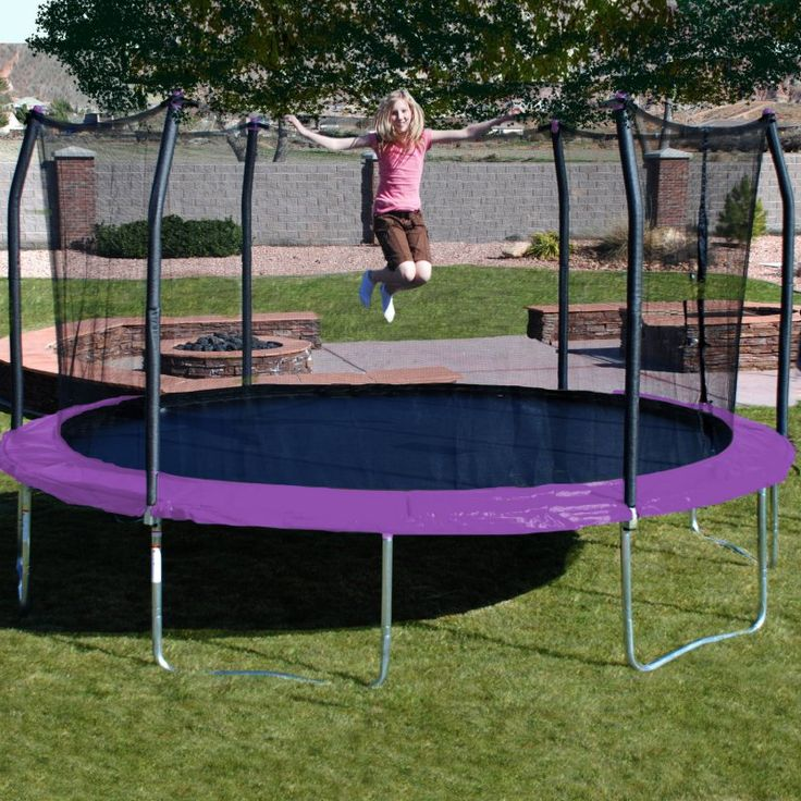 Skywalker Trampolines 17 ft. Oval Trampoline with Safety Enclosure Purple - SKW069-3