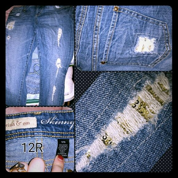 Jean Holey skinny j's patched with gold sequins ??? Jeans Skinny