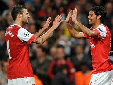 Francesc Fàbregas y Carlos Vela en el Arsenal