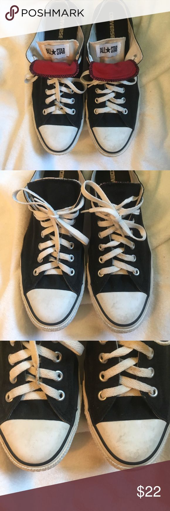 Converse All Star Regularly worn but in good shape. Unisex Men's 11 Woman's 13. Look at pics for scuff/dirt marks. Double tongue Converse Shoes Sneakers