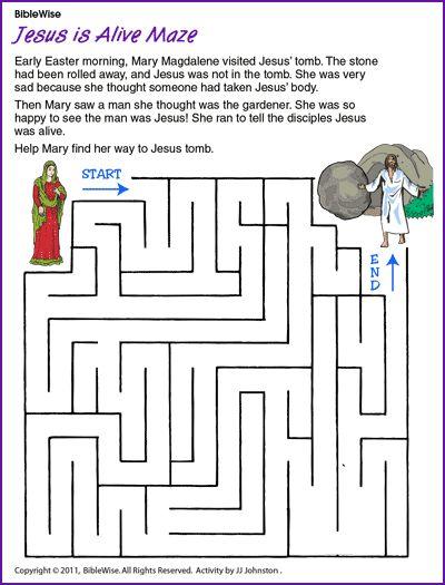 Jesus Is Alive Maze (Jesus' Resurrection) - Kids Korner - BibleWise