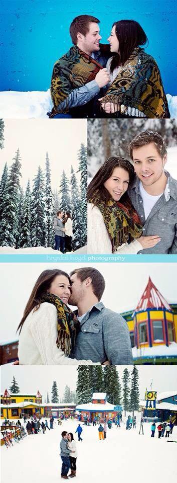 Couple shoot in winter. Silverstar mountain