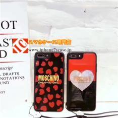 moschino鏡ミラー表面キラキラ iPhone8/7s/6plusケース ブランドモスキーノ アイフォン7plus/6sハート柄携帯カバーソフト