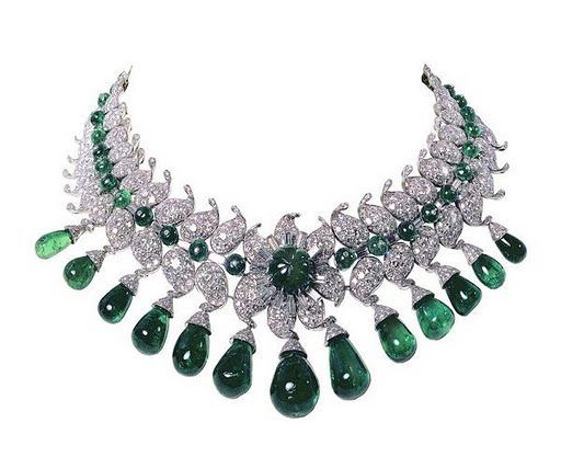 """Van Cleef & Arpels, Paris, 1949–50. The """"Baroda Set"""" ordered by the Maharani of Baroda, """"The Indian Wallis Simpson"""", wife of the Maharaja of Baroda. This impressive suite of jewellery was designed by Jacques Arpels for Sita Devi, the second wife of Maharaja Pratapsinh Gaekwad of Baroda. It consists of 13 pear-shaped Colombian emeralds – 154 carats in total – suspended from diamonds set in the shape of a lotus flower. All the gems were all supplied by the Maharani and belonged to the Baroda…"""