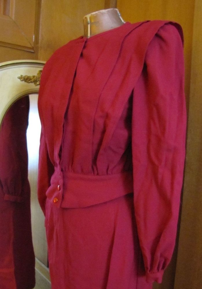 Vintage Mod Pierre Cardin Designer Cranberry Accordian Pleated Fitted Skirt Suit