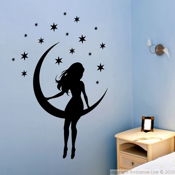 Bedroom wall decals for your interior decoration!  These bedroom wall decals and this little girl on the moon can give you ideas for decorating.   #stickers #decals #wall