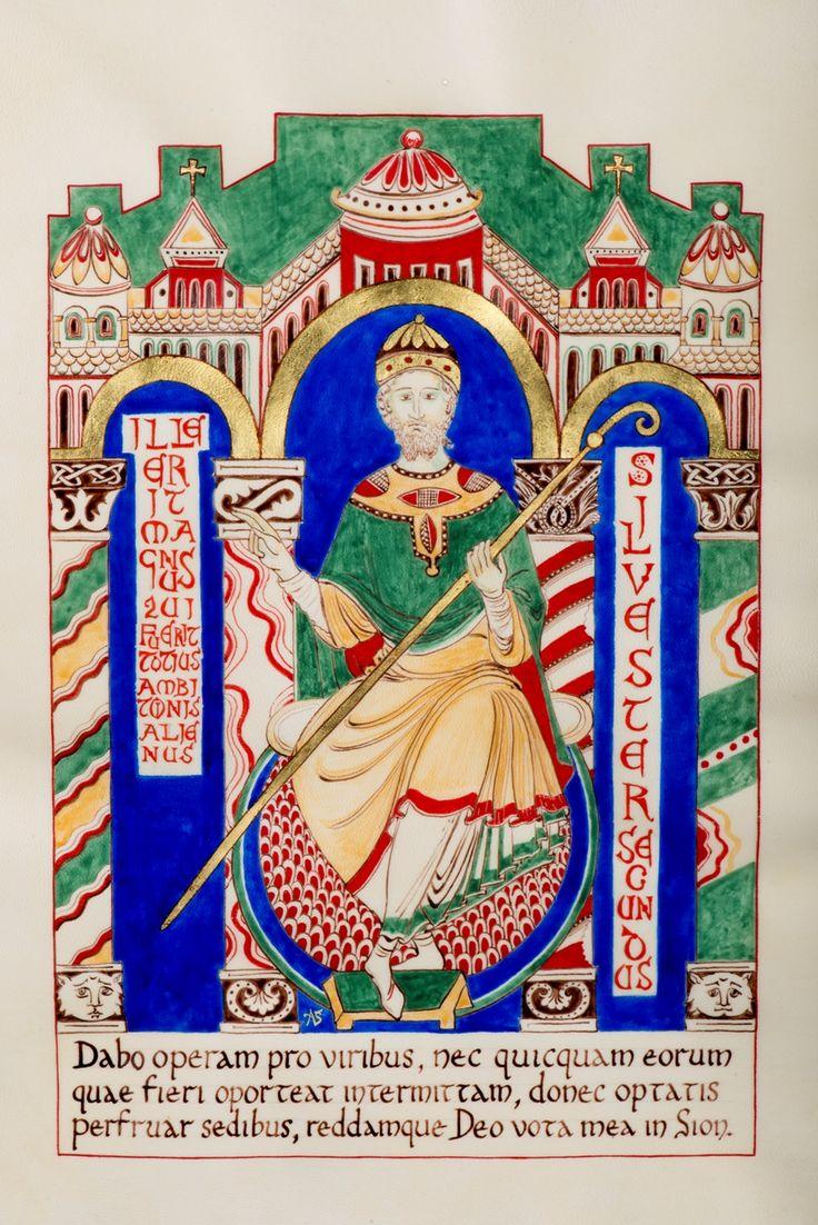 Gerbert, Archevêque de Ravenne devient le Pape Sylvestre II : L'humilité couronnée.  Portrait de Gerbert en pape dans un style roman (inspiré de la Bible de Saint-Martial de Limoges et d'après des dessins de chapiteaux ottoniens de l'église Saint-Géraud d'Aurillac).
