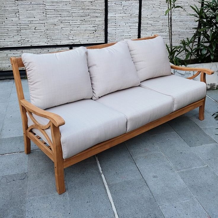 Brunswick Teak Patio Sofa with Cushions in 2020 | Outdoor ... on Belham Living Lilianna Outdoor Daybed id=62914