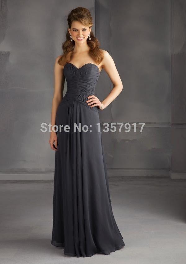 Серые платья невесты пола шифон милая свадебные ну вечеринку платье невесты бесплатная доставка