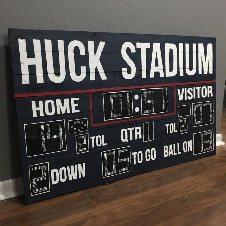 Custom Football Scoreboard Reclaimed Wood Artwork in 2020