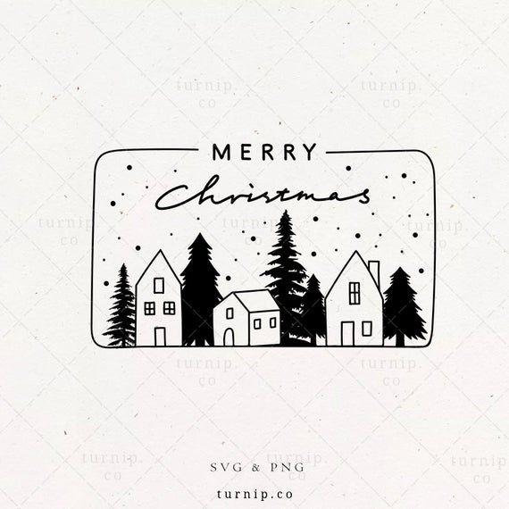 Merry Christmas Svg Png Sublimation Hand Lettered Sign Decoration Stencil Frame Card Printable Ornament Banner Wall Art Digital Download Christmas Svg Frame Card Hand Lettering
