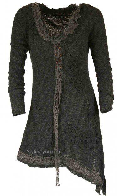 Pretty Angel Clothing Ellis Vintage Tunic In Black