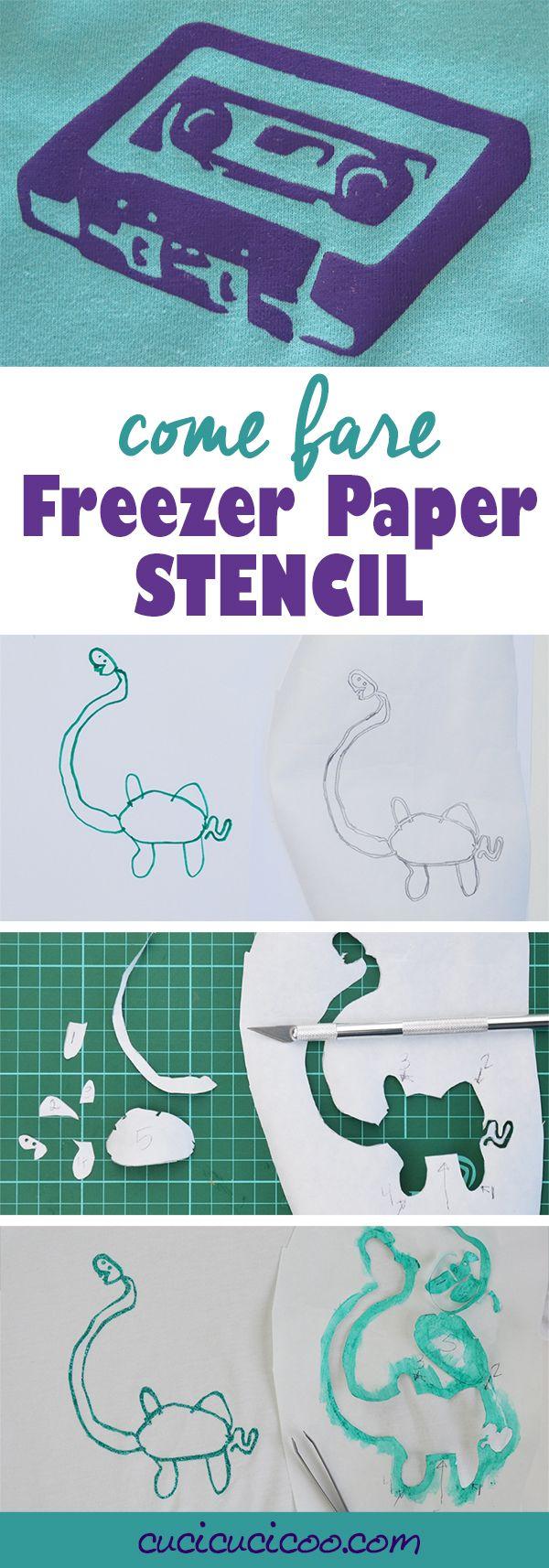 Vuoi passare un bel disegno su una maglietta? Questo tutorial mostra come fare stencil con freezer paper per decorare qualunque oggetto di tessuto! Una tecnica divertentissima! www.cucicucicoo.com