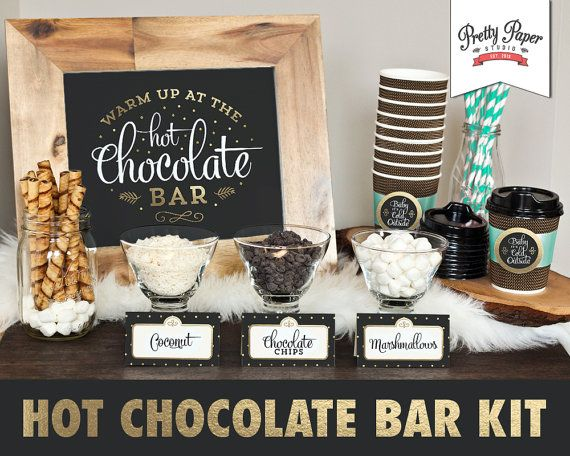 Printable hot chocolate bar kit in black and gold. Hosting a gathering this winter? Treat your guests to the growing trend of a hot