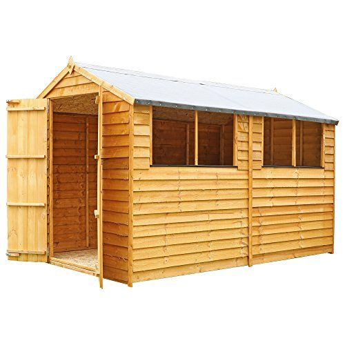 10x6 Wooden Overlap Garden Storage Shed, Windows, Double Door, Solid Sheet Board Floor, Apex Roof, 10ft 6ft Free 3-5 Day Delivery + 10 Year Guarantee From Waltons---359.95---