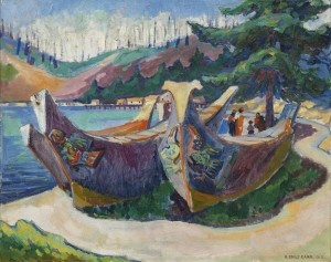 War Canoes, Alert Bay by Emily Carr Emily Carr, 1912. Oil on canvas | Collection of Michael Audain and Yoshiko Karasawa